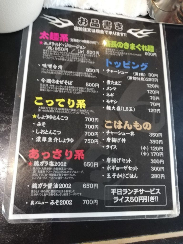 ラーメン和田屋のメニュー